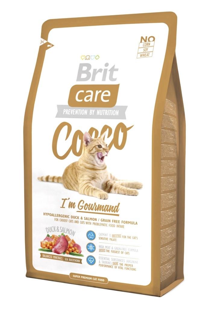 Сухий корм з качкою і лососем Brit Care Cocco I am Gourmand для вибагливих кішок 400 г