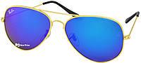 Cолнцезащитные очки Ray Ban Aviator 3026 62-14-138 Синие, золотая оправа