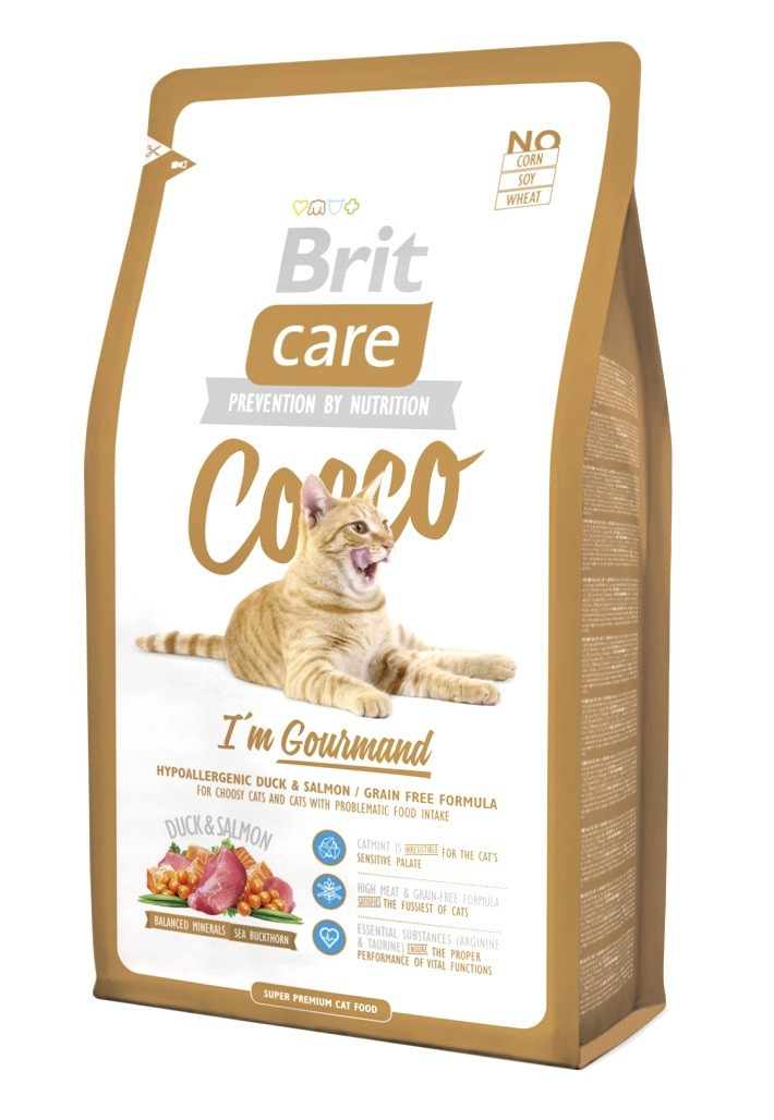 Сухий корм з качкою і лососем Brit Care Cocco I am Gourmand для вибагливих кішок 2 кг