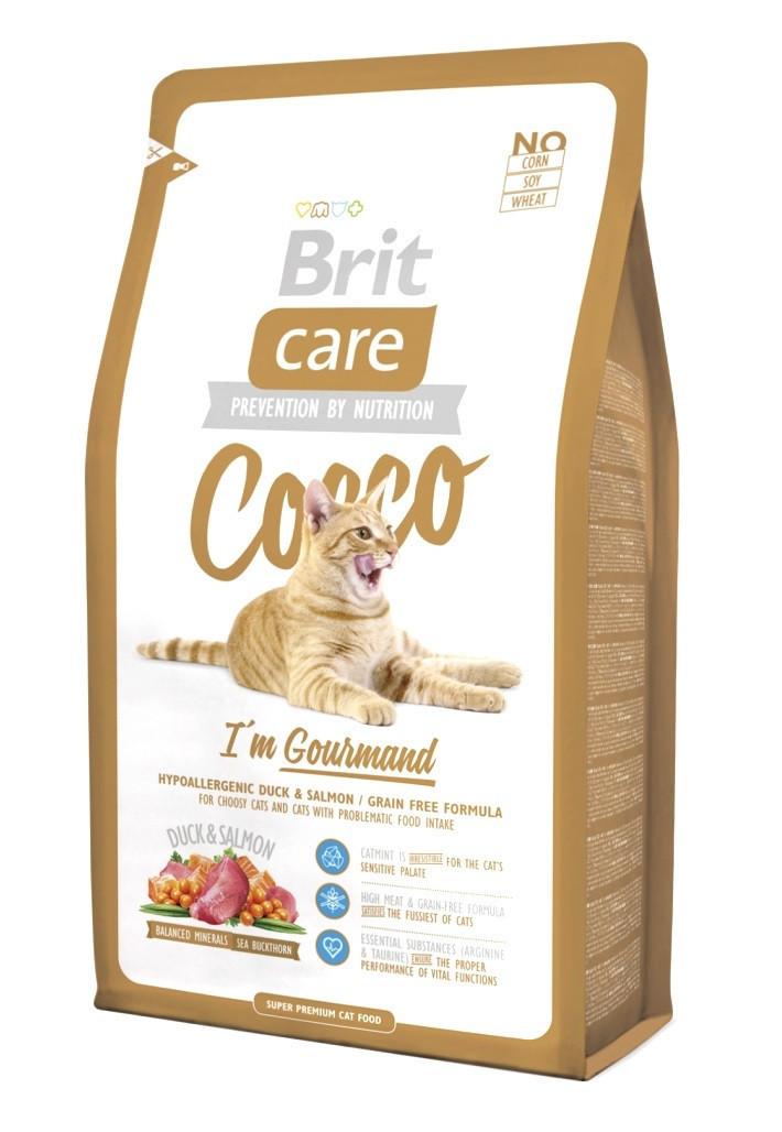 Сухий корм з качкою і лососем Brit Care Cocco I am Gourmand для вибагливих кішок 7 кг