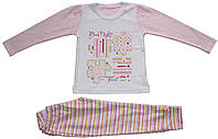 Пижама для девочки, розовая с полосатыми брючками, рост 116 см, Фламинго