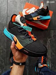 Мужские кроссовки в стиле Nike PG 3, текстиль, пена, черные с голубым 45 (29 см)