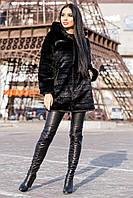 Женская черная шуба из искусственной норкидо колен g-719016, фото 1