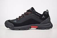 Мужские зимние кроссовки в стиле Adidas Climaproof, текстиль, кожа, черные с красным 46 (29 см)