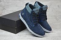Мужские зимние ботинки на меху в стиле Timbеrland, нубук, шерсть, полиуретан, синие *** 44 (29 см)