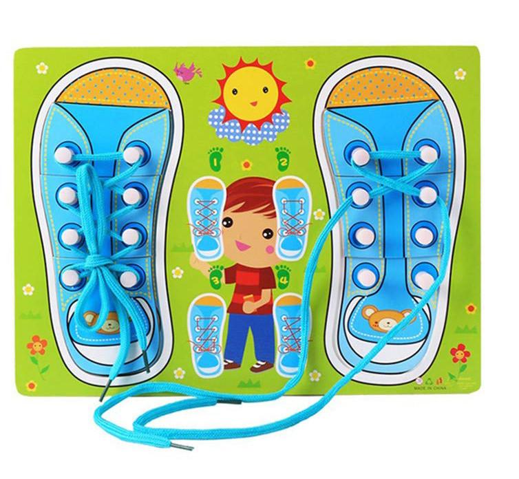 Деревянная игрушка Шнуровка M00956 (Голубая)
