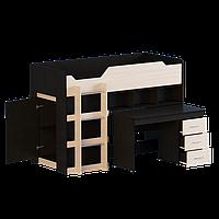 Кровать-чердак со столом и шкафом Эверест-2 Венге темный + Дуб молочный Е-12, КОД: 182329