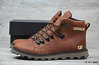 Мужские зимние ботинки на меху в стиле Caterpillar, кожа, шерсть, полиуретан, рыжие *** 40 (26 см)