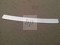 Защитная хром накладка на задний бампер (планка без загиба) Chevrolet aveo T200 (шевроле авео т200) 2002-2008