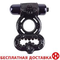 Эрекционное кольцо с вибрацией Infinity Super Ring Black, черный