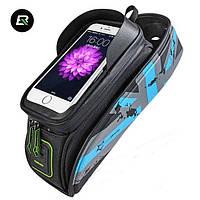 """Велосумка для смартфона на раму, RockBros, голубая, до 5.8"""", фото 1"""