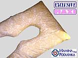 Подушка для вагітних Maxi Exclusive, в комплекті наволочка 2-стороння - Жовтий.візерунки+жовтий.точки, фото 4