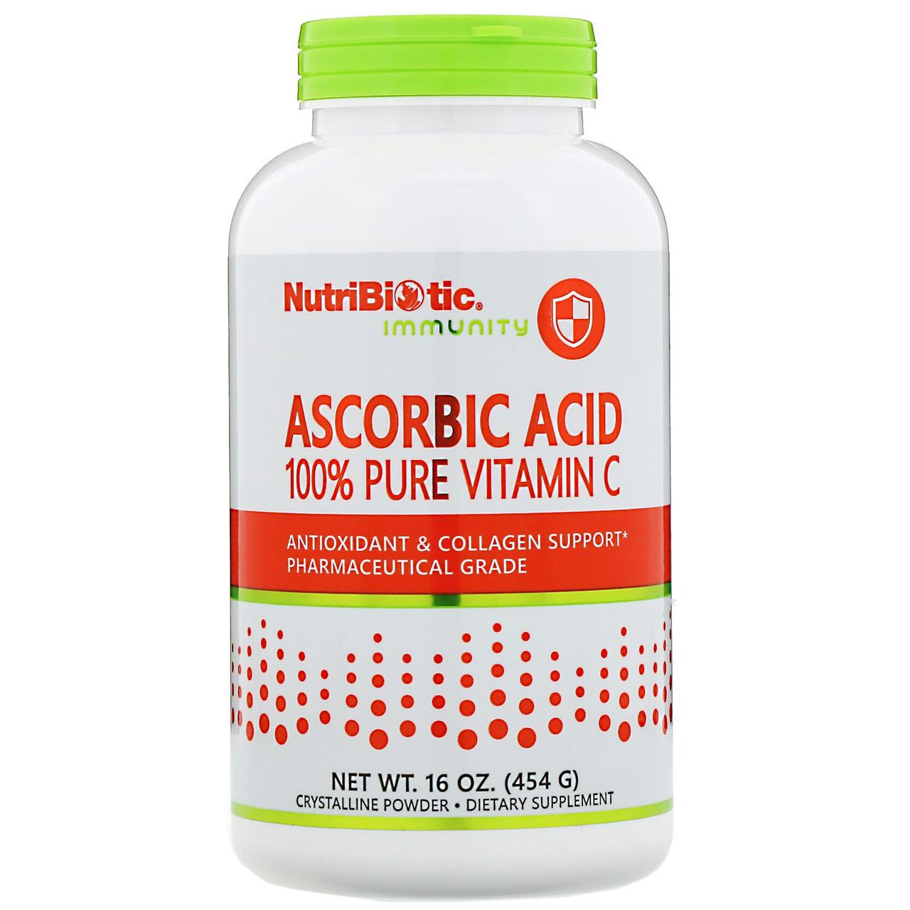 Аскорбиновая кислота NutriBiotic, кристаллический порошок, 454 г