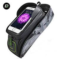 """Велосумка для смартфона на раму, RockBros, серая, до 5.8"""", фото 1"""