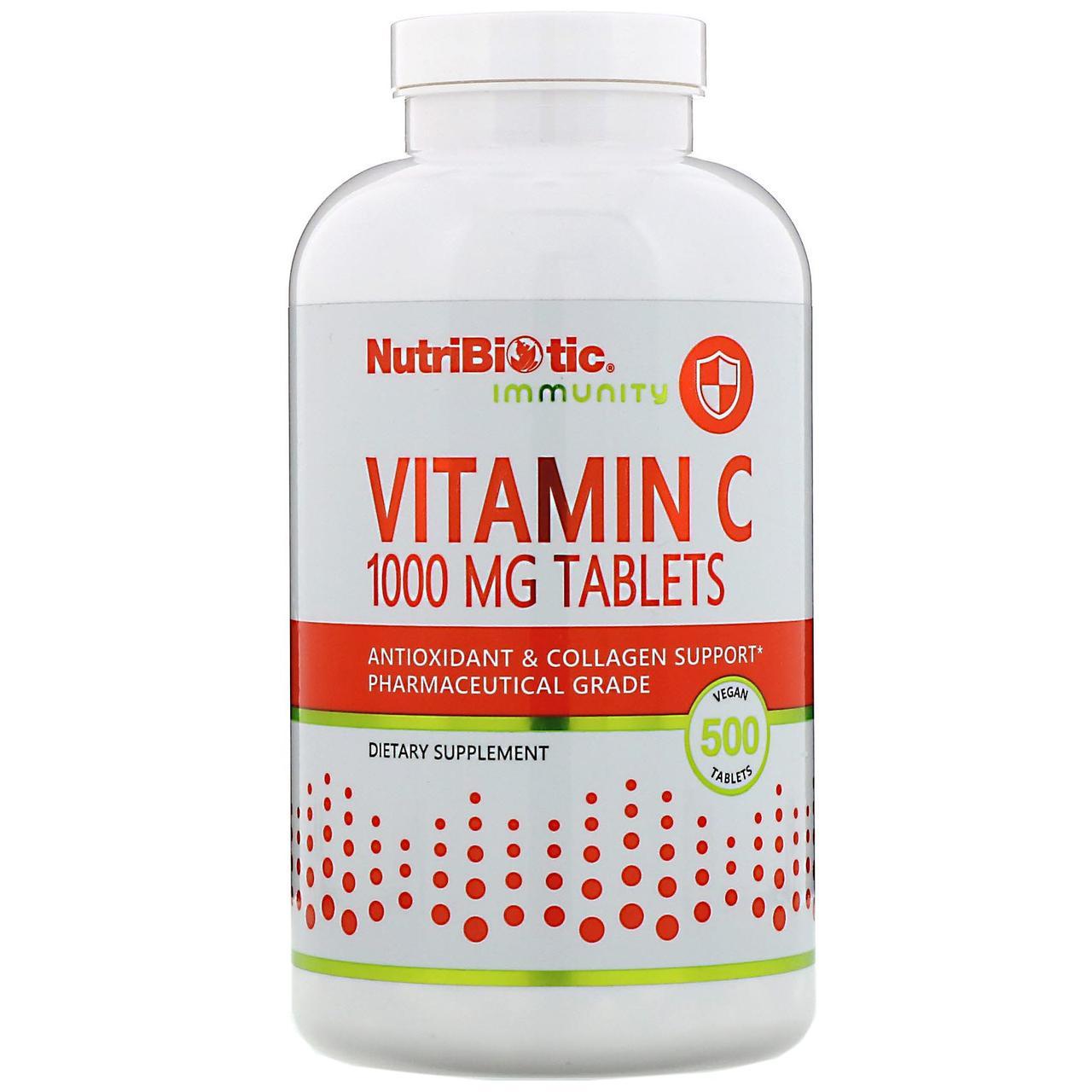 Витамин C NutriBiotic, 1000 мг, 500 вегетарианскихвит таблеток