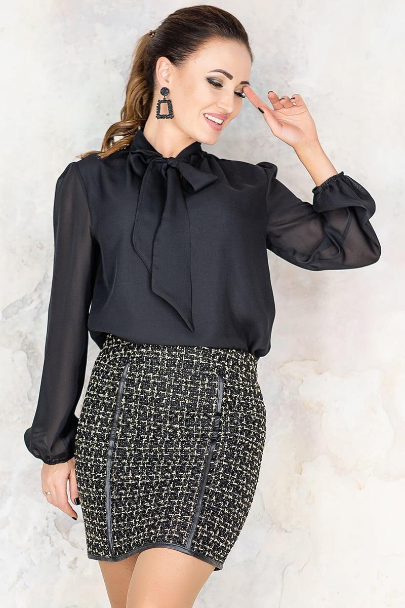 Черная короткая юбка из твида Пармель