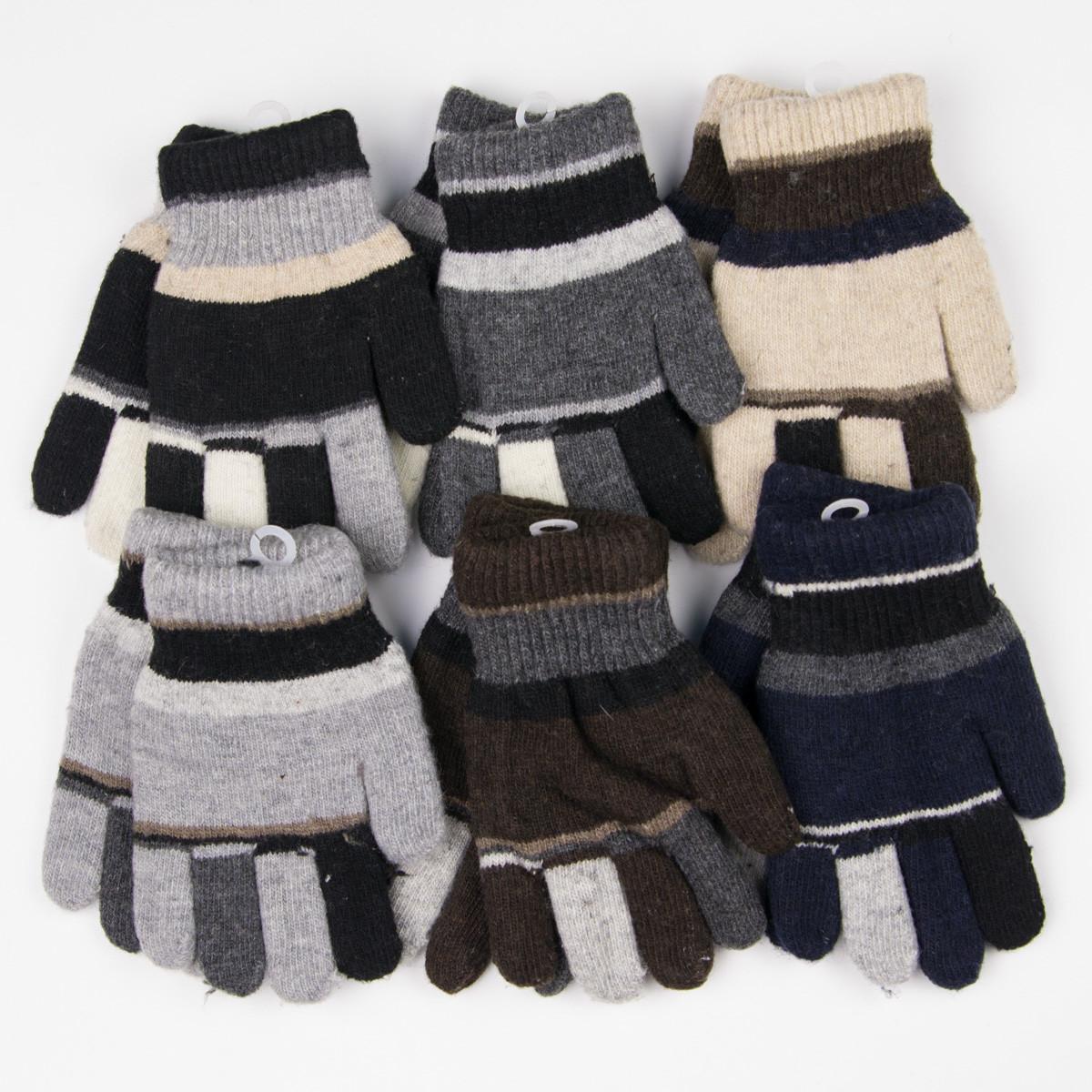 Оптом перчатки детские для мальчика двойные 3-5 лет - разные цвета - 14-5-22