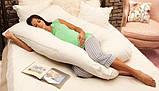 Подушка для вагітних Maxi Exclusive, в комплекті наволочка 2-стороння - Жовтий.візерунки+жовтий.точки, фото 8