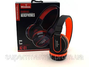JBL AZ01 Bluetooth наушники с FM, MP3 копия, черные с оранжевым