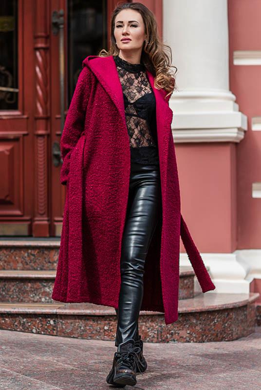 Женское пальто Мариз букле бордовое