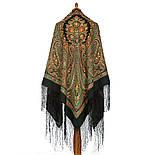 Волшебница 992-10, павлопосадский платок (шаль) из уплотненной шерсти с шелковой вязанной бахромой, фото 2