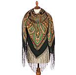 Волшебница 992-10, павлопосадский платок (шаль) из уплотненной шерсти с шелковой вязанной бахромой, фото 3