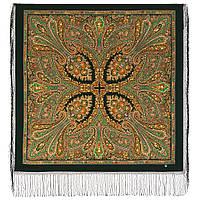 Волшебница 992-10, павлопосадский платок (шаль) из уплотненной шерсти с шелковой вязанной бахромой