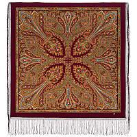 Волшебница 992-6, павлопосадский платок (шаль) из уплотненной шерсти с шелковой вязанной бахромой