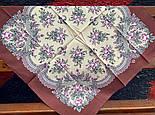 Весенняя нежность 1501-4, павлопосадский платок (на голову, шейный) хлопковый (батистовый) с подрубкой, фото 3