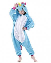 Детское кигуруми Единорог голубой 130 см - 189975