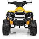 Дитячий електромобіль Квадроцикл M 3893 L-6, SATAIC, Шкіряне сидіння, музика, жовтий, фото 3