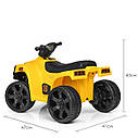 Дитячий електромобіль Квадроцикл M 3893 L-6, SATAIC, Шкіряне сидіння, музика, жовтий, фото 4