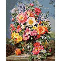 """Картина раскраска по номерам """"Красочный букет с пионами в стеклянной вазе"""" на холсте 40Х50 см. Babylon VP945"""