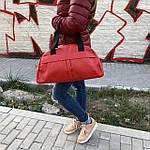 Женская спортивная сумка дорожная сумка из искусственной кожи Красный, фото 6