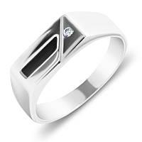 Серебряный перстень-печатка Дональд с черной эмалью и завальцованным фианитом 19.5 000093476