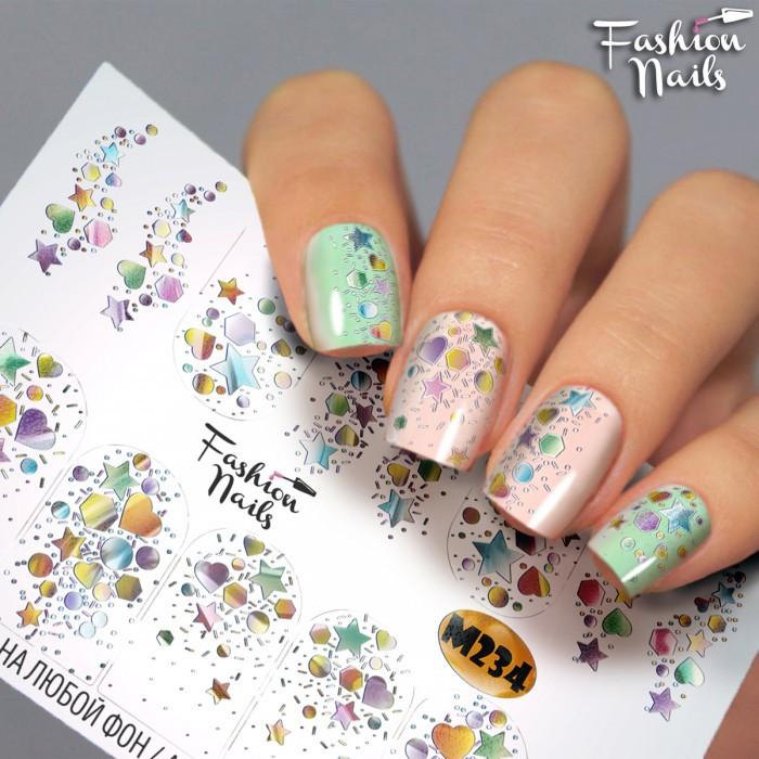 Зимний слайдер дизайн Cнежинки - Новогодние наклейки для ногтей арт.М234