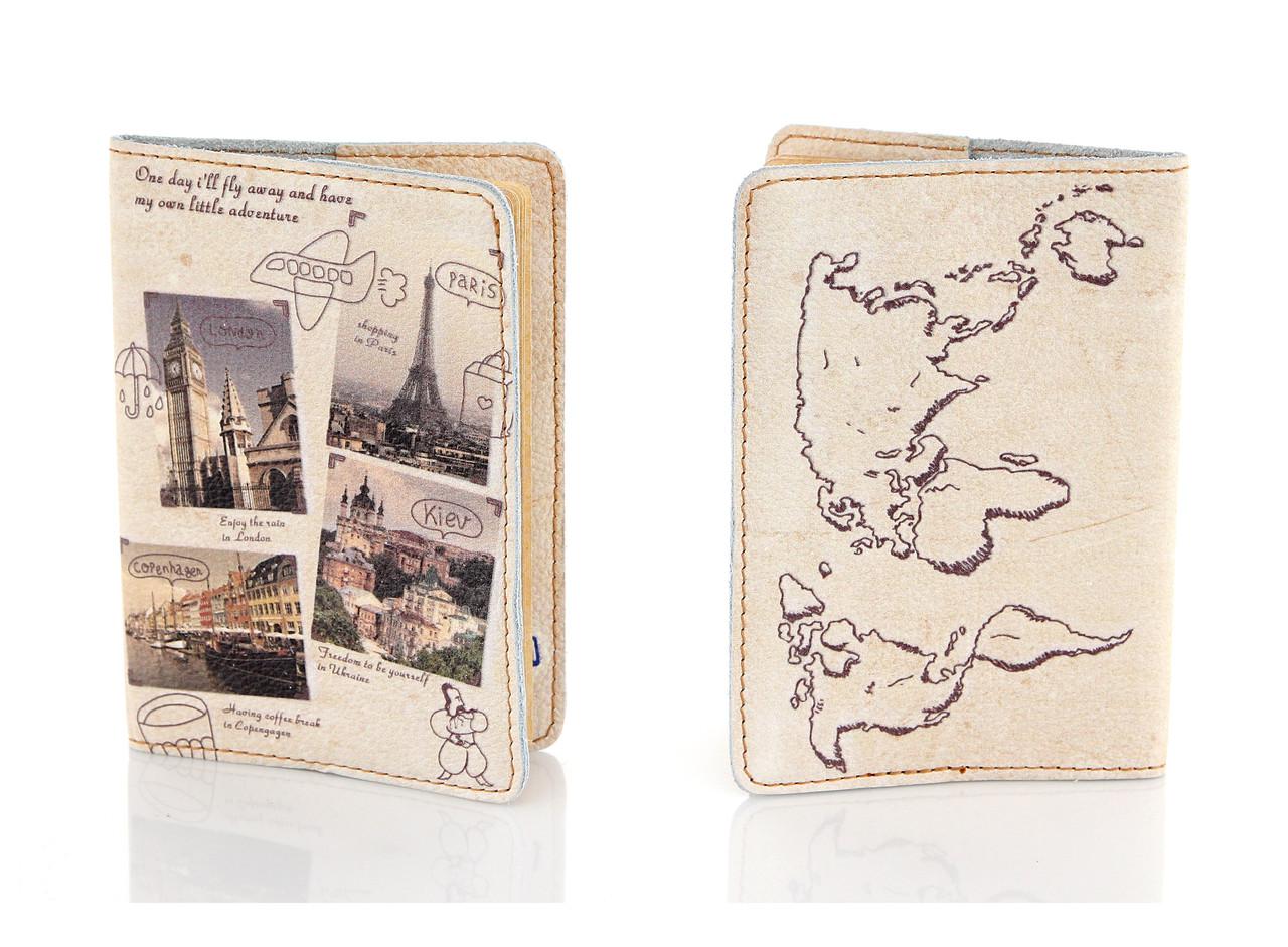 Шкіряна обкладинка на паспорт Міста Європи