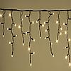 Уличная Гирлянда Бахрома 100 LED тепло белый цвет 5 м, черный провод