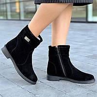 Ботинки женские зимние замшевые черные на замке (Код: Б1635)