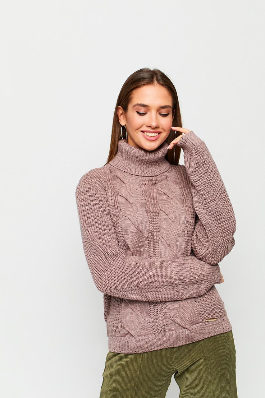 """Женский свитер оверсайз размер 42-48, цвет кофе с узором """"косы"""""""