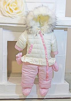 """Комбинезон человечек на овчине для девочки """"Розовый юшик"""""""