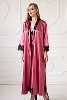 """Женский длинный халат на запах бордового цвета с кружевом  """"Ametrine"""" качество premium"""
