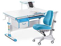 Комплект Evo-Evo kids-40 G Grey (арт. Evo-40 G + крісло Y-110 KBL) /(стіл+ящик+полку+крісло)/ біла стільниць