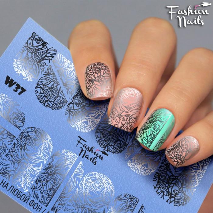 Слайдер-дизайн Зима и Новый Год - Новогодние наклейки для ногтей арт.W37