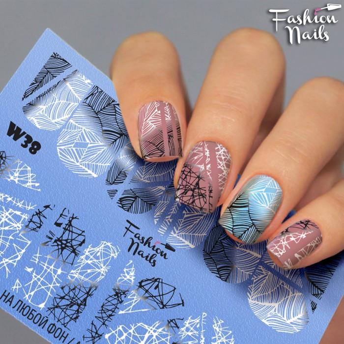 Слайдер-дизайн Зима і Новий Рік - Новорічні наклейки для нігтів Заметіль Смужки Абстракція арт.W38