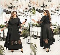 Р-ры 50-60 Комбинированное длинное нарядное платье Батал 20501, фото 1