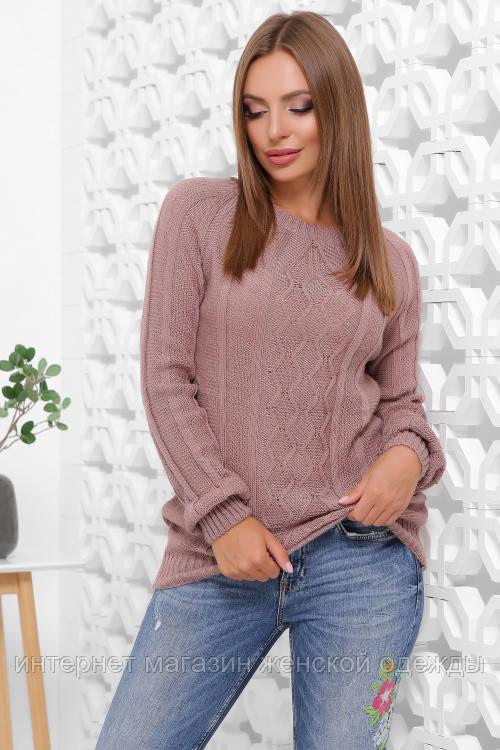 Женский вязаный свитер-реглан с круглым вырезом размер 44-48 фрез