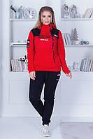 """Теплый женский спортивный костюм """"STEEP TECH"""" с карманами и капюшоном (большие размеры)"""