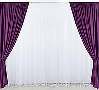 Готовые дорогие бархатные  плотные шторы в спальню,залу цвет фиолетовый