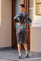 Приталенное женское бархатное платье с карманами 42, 44, 46